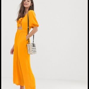NEW! ASOS Tea Jumpsuit with Puff Sleeves Size 6